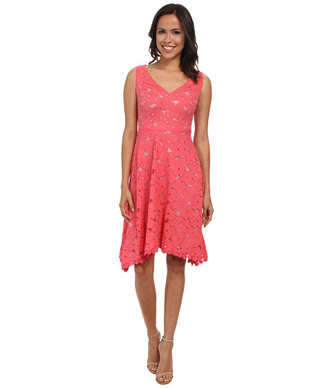 Adrianna Papell - V-Neck Pleated Fit Flare (Coral) Women's Dress