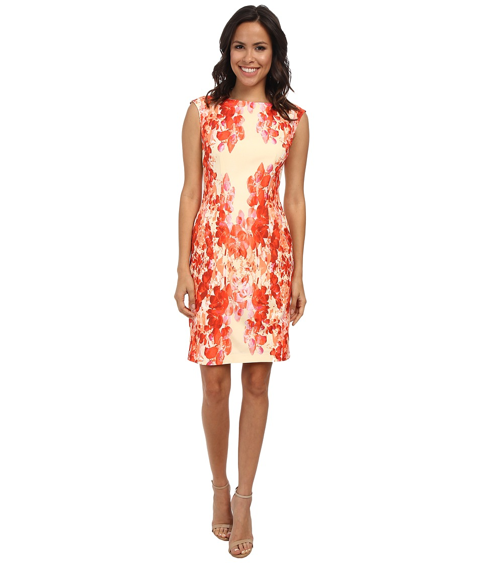 Adrianna Papell - Cascading Floral Print (Coral Multi) Women's Dress