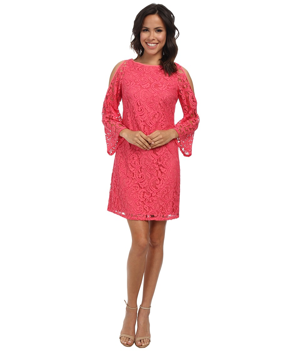 Adrianna Papell - Cutout Sleeve Shift Lace (French Coral) Women