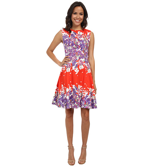 Adrianna Papell - Side Panel Pleat Detail Floral Print (Orange Multi) Women's Dress