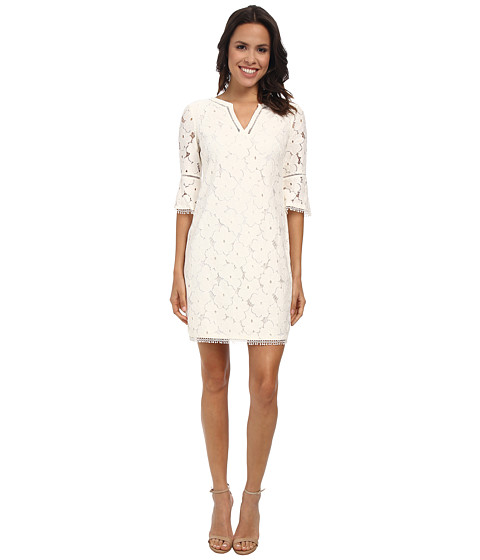 Adrianna Papell - Split Neck Bell Sleeve Shift Dress (Ivory) Women's Dress