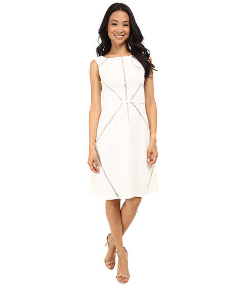 Adrianna Papell - Fit Flare Splice Dress (Ivory) Women