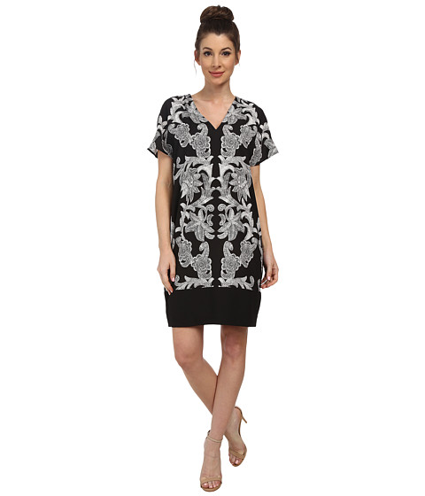 Adrianna Papell - Contrast Printed Front T-Shirt (Black/Ivory) Women's Dress