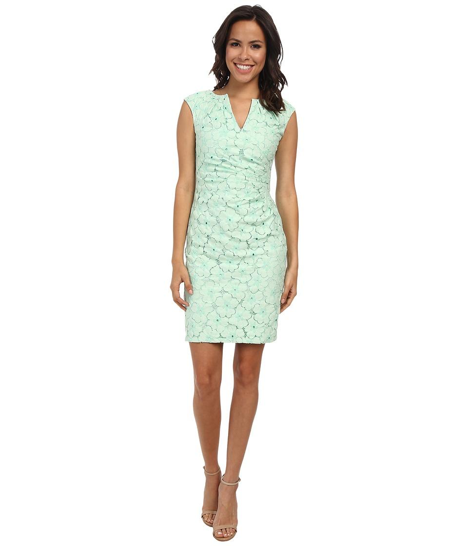 Adrianna Papell - Side Pleated Slit Neck Sheath (Mint Green) Women's Dress