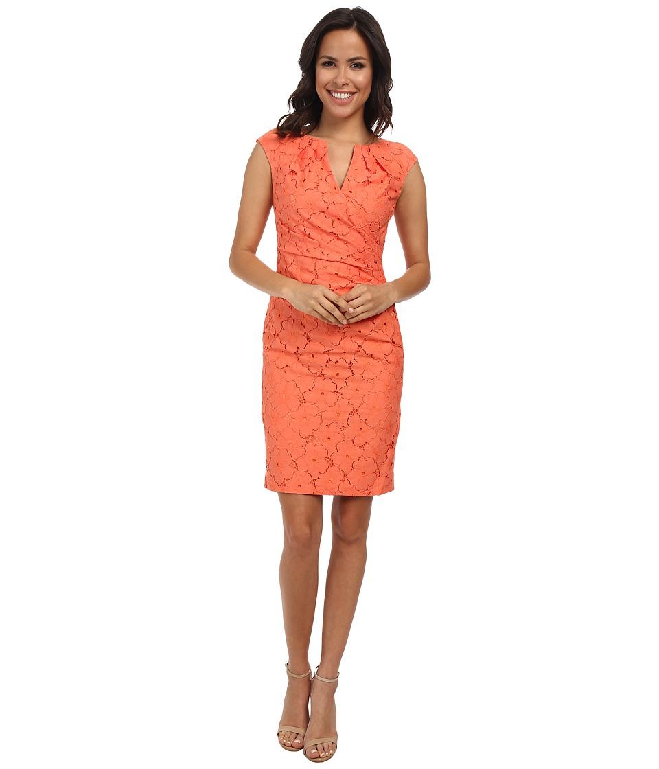 Adrianna Papell - Side Pleated Slit Neck Sheath (Orange) Women