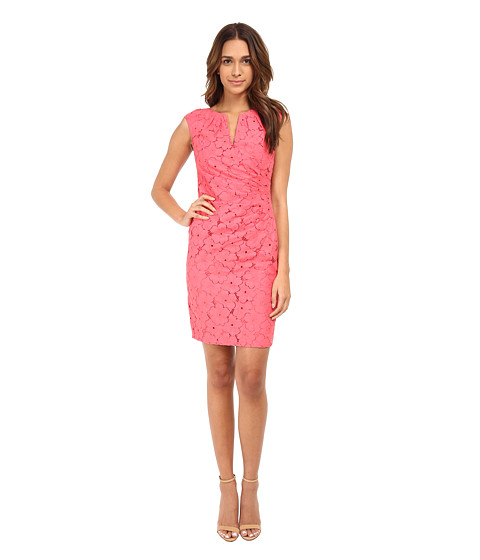 Adrianna Papell - Side Pleated Slit Neck Sheath (Coral) Women