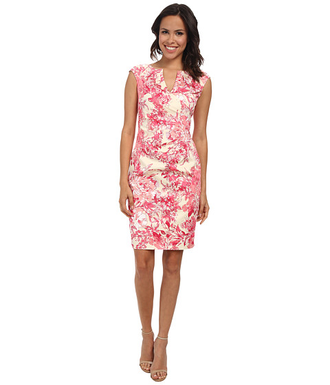 Adrianna Papell - Side Wrap Pleated Floral (Pink Multi) Women's Dress