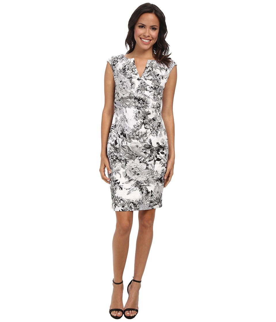 Adrianna Papell Side Wrap Pleated Floral White-Grey Dress