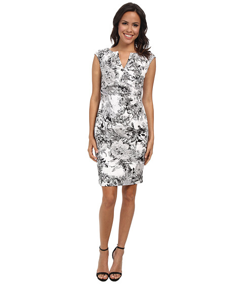 Adrianna Papell - Side Wrap Pleated Floral (White/Grey) Women