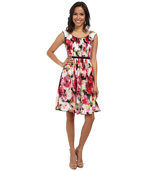 Adrianna Papell - Sleeveless Pleated Print Dress (Ivory Multi) Women's Dress