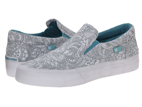 DC - Trase Slip-On SP (White/Grey) Women's Skate Shoes