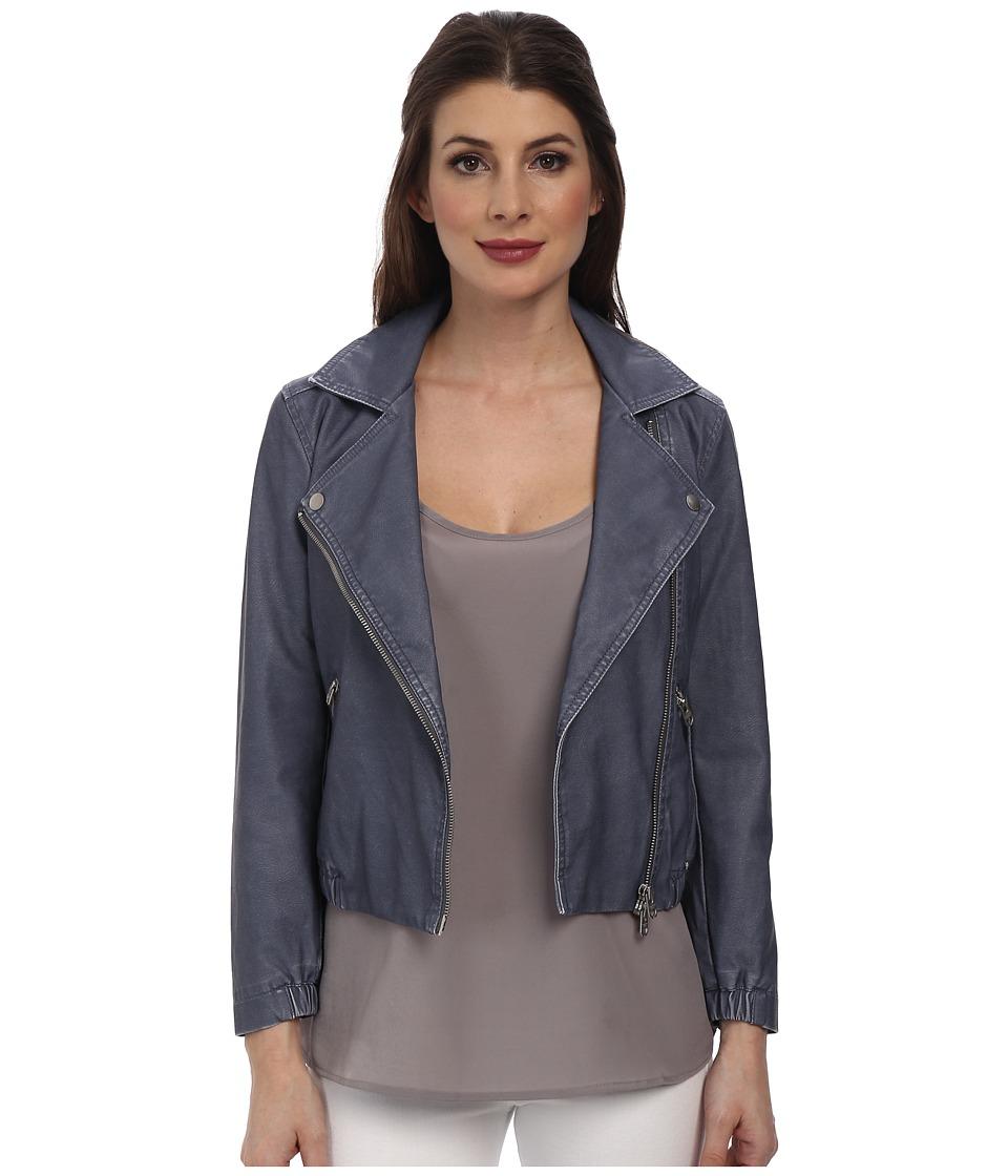 Calvin Klein Jeans - Shrunken Leather Biker Jacket (Scorched Denim) Women's Coat