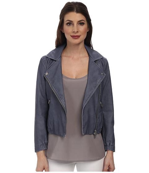 Calvin Klein Jeans - Shrunken Leather Biker Jacket (Scorched Denim) Women