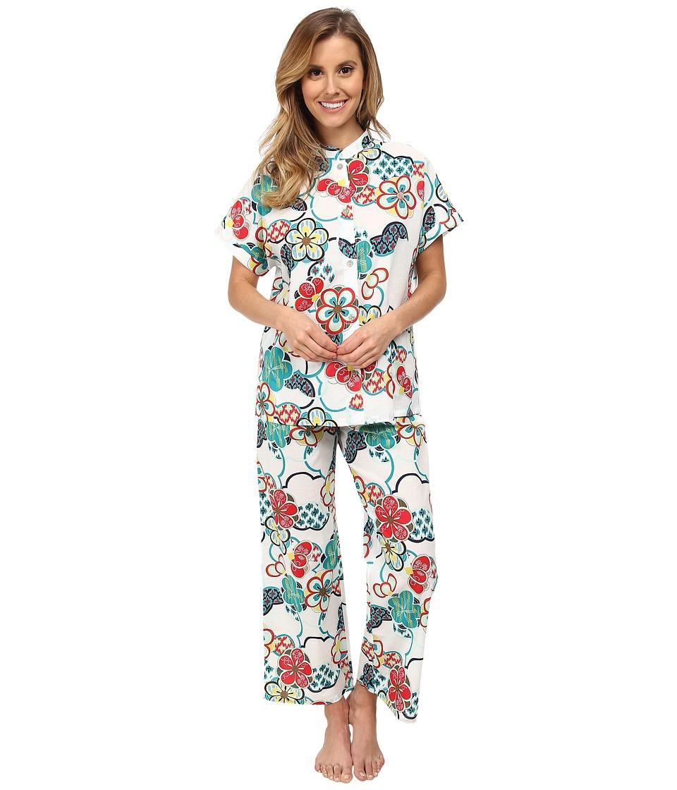 N by Natori - N Natori Mandarin S/S PJ (White) Women's Pajama Sets