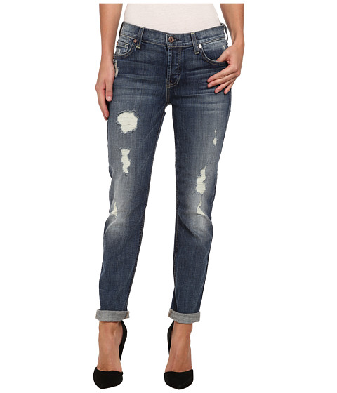 7 For All Mankind - Josefina w/ Rolled Hem in Slim Illusion Aggressive Atlas Blue 2 (Slim Illusion Aggressive Atlas Blue 2) Women's Jeans