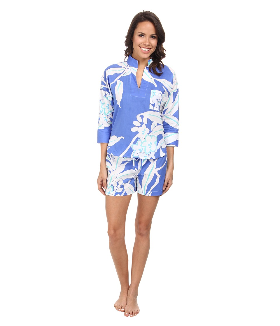 N by Natori - N Natori Pullover PJ w/ Shorts (Tropical Blue) Women's Pajama Sets