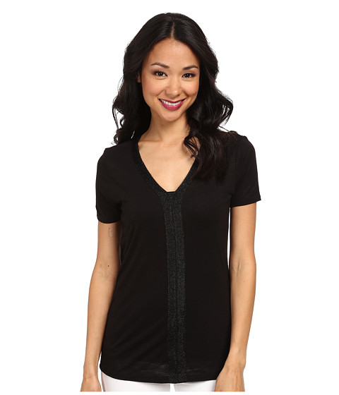 Calvin Klein Jeans - S/S V-Neck Lurex Trim Shirt (Black) Women's Short Sleeve Pullover