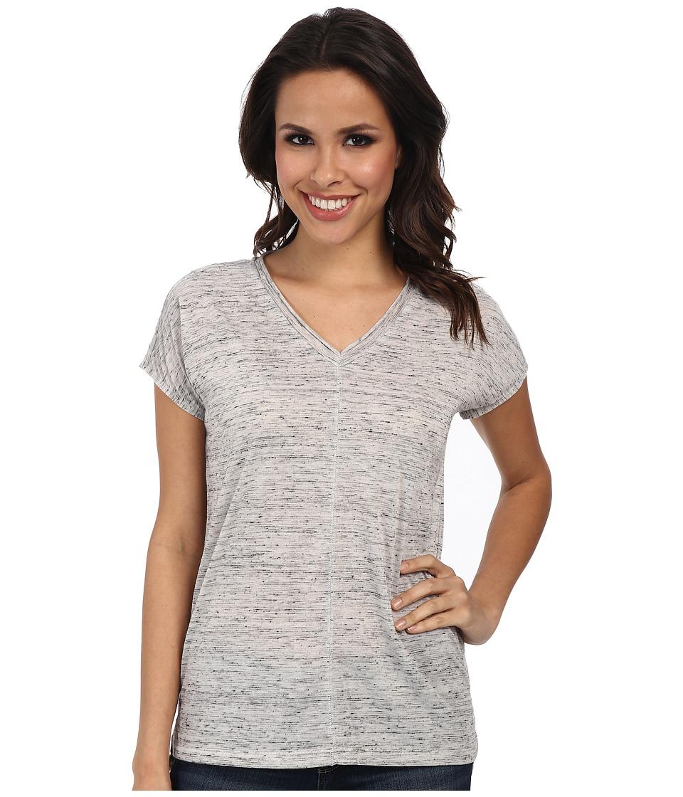 Calvin Klein Jeans - Extended Sleeve V-Neck Tee (Gardenia) Women's Short Sleeve Pullover