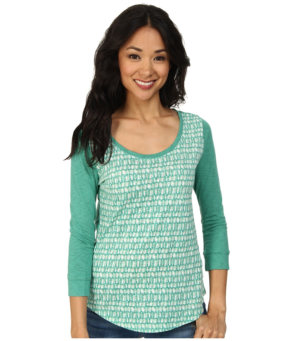 Calvin Klein Jeans - 3/4 Sleeve Scoop Neck Printed Top (Jade) Women's Long Sleeve Pullover