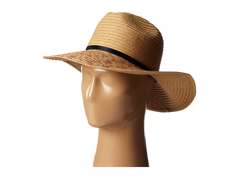 BCBGeneration - Floral Printed Fedora Floppy (Natural) Traditional Hats