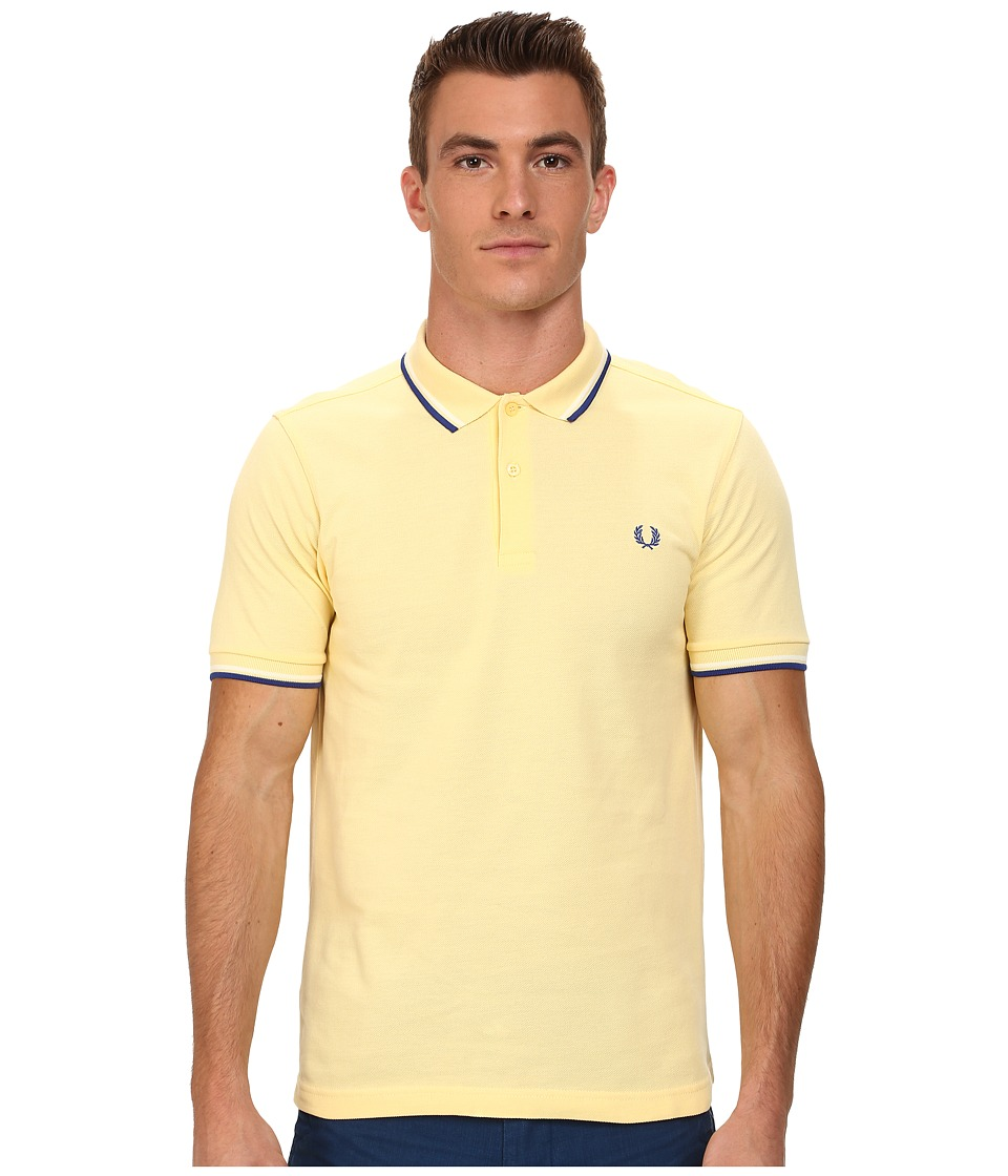 Fred Perry - Slim Fit Twin Tipped Fred Perry Polo (Soft Yellow/Ecru/Regal) Men