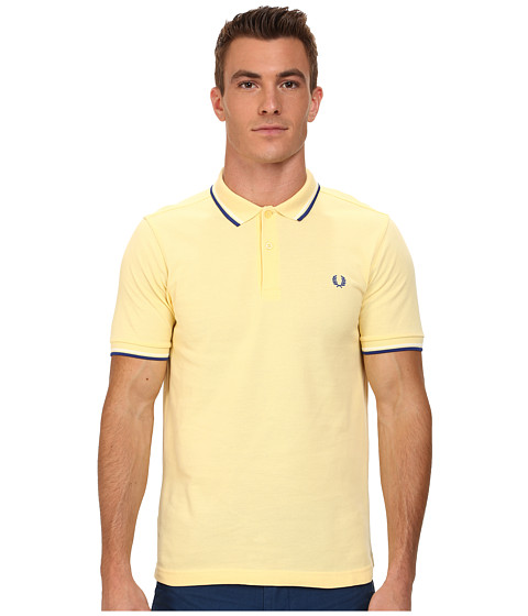 Fred Perry - Slim Fit Twin Tipped Fred Perry Polo (Soft Yellow/Ecru/Regal) Men's Short Sleeve Knit