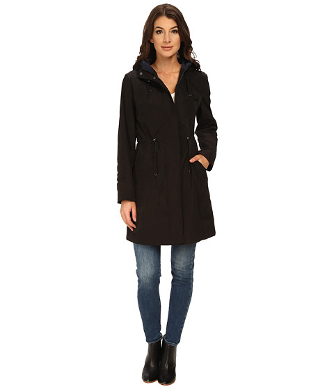 Rainforest - Packable Anorak w/ Contrast Roll Back Cuff (Black) Women's Coat