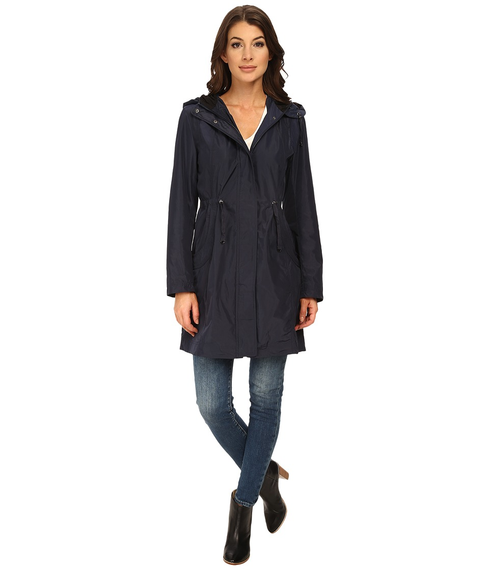 Rainforest - Packable Anorak w/ Contrast Roll Back Cuff (Navy) Women's Coat