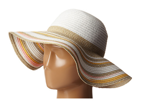 BCBGeneration - Mixed Stripe Floppy (White) Traditional Hats