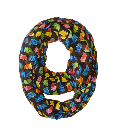 Betsey Johnson - Painted Hearts Rainbow Infinity (Black) Scarves