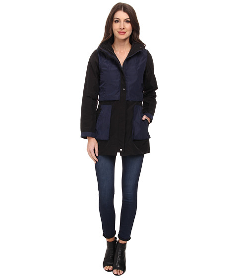 Rainforest - Packable Color Blocked Jacket (Black) Women's Coat
