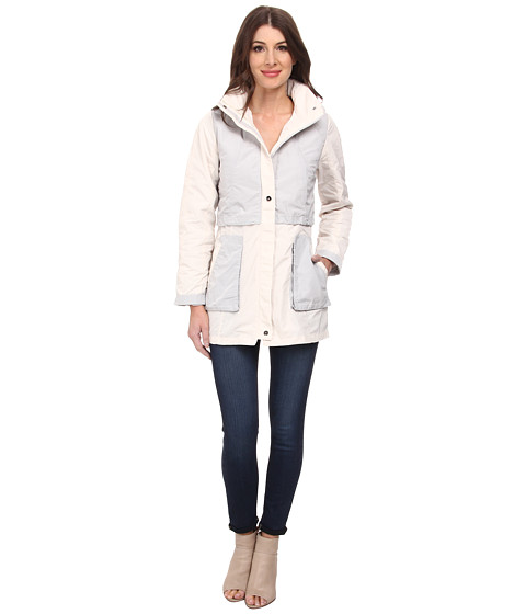Rainforest - Packable Color Blocked Jacket (Cream) Women's Coat