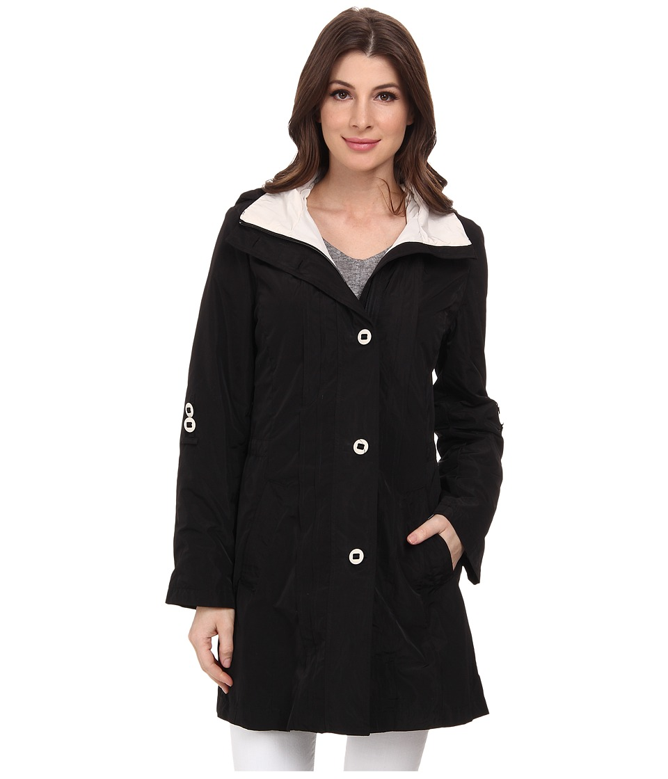 Rainforest - Packable Slot Button Coat w/ Roll Tab Sleeve (Black) Women's Coat