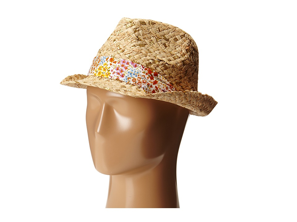 Betsey Johnson - Sequin Fedora with Floral Band (Natural) Fedora Hats