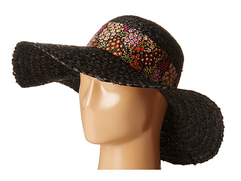 Betsey Johnson - Sequin Floppy Hat with Floral Band (Black) Caps