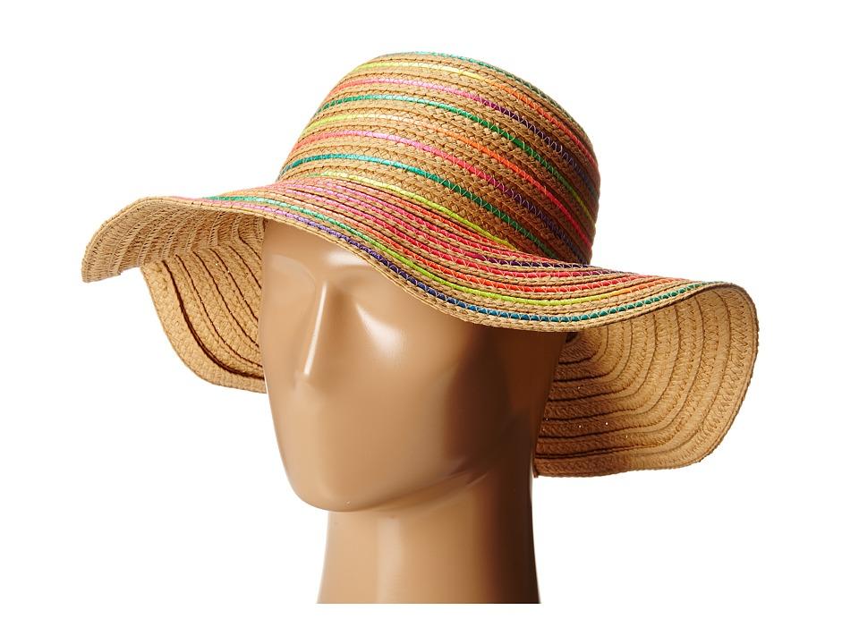 Betsey Johnson - Rainbow Swirl Floppy Hat (Natural) Caps