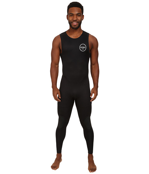 XCEL Wetsuits - 2mm Axis Long John (All Black w/ Silver Ash Logos) Men's Wetsuits One Piece