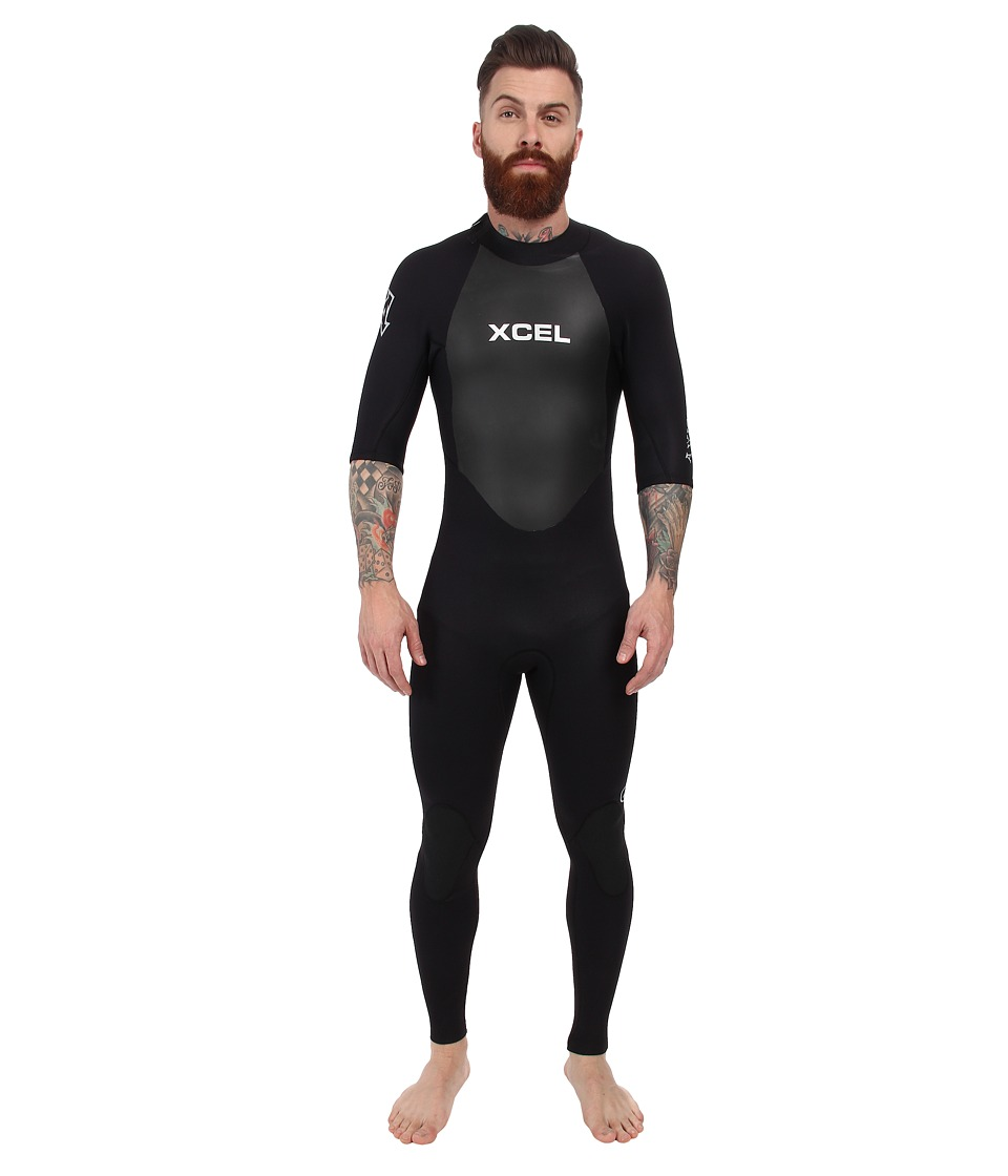 XCEL Wetsuits - 2mm Axis OS S/S Fullsuit (All Black w/ Silver Ash Logos) Men