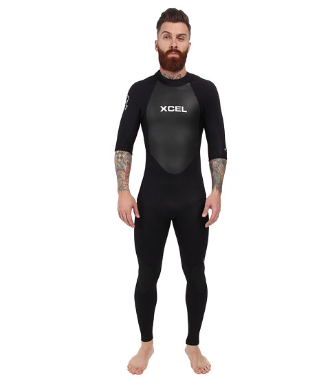 XCEL Wetsuits - 2mm Axis OS S/S Fullsuit (All Black w/ Silver Ash Logos) Men's Wetsuits One Piece