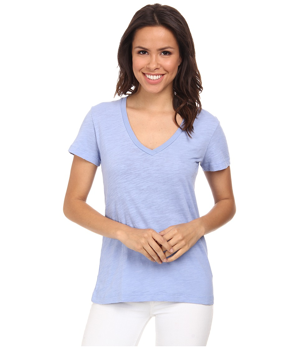 Mod-o-doc - Slub Jersey Short Sleeve V-Neck Tee (Larkspur) Women's Short Sleeve Pullover