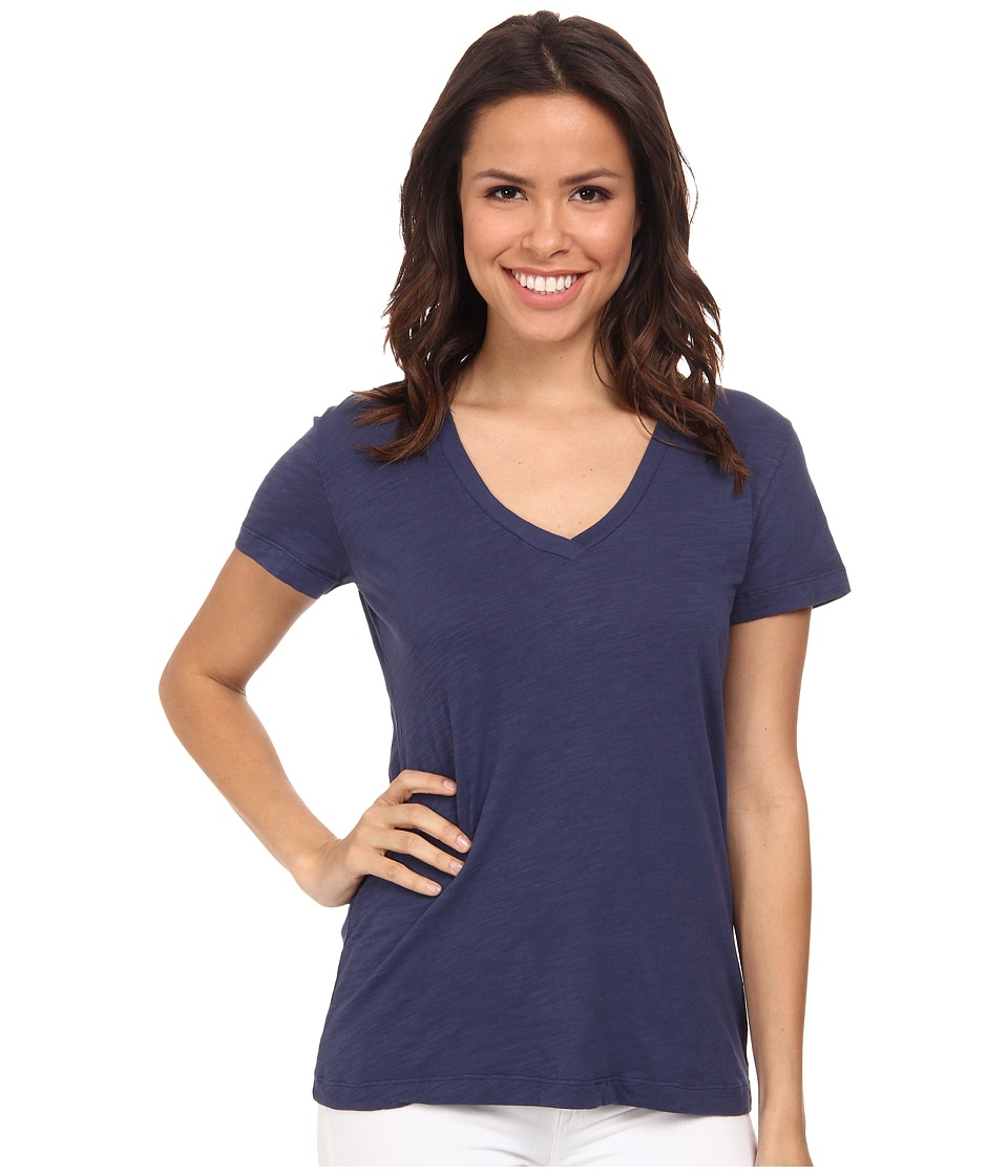 Mod-o-doc - Slub Jersey Short Sleeve V-Neck Tee (New Navy) Women's Short Sleeve Pullover