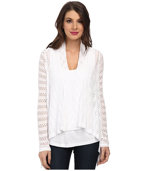 Miraclebody Jeans - Megan Mitered Twin Set w/ Body-Shaping Inner Shell (White) Women's Sweater