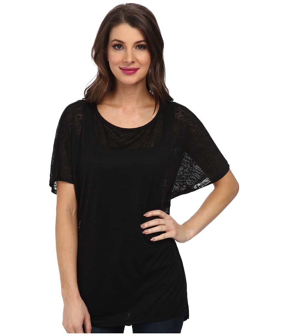 Miraclebody Jeans - Paige Pleat Back Top w/ Body-Shaping Inner Shell (Black) Women's Clothing