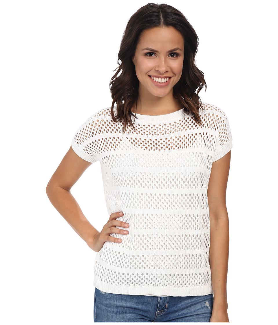 Mod-o-doc - S/S Mesh Stripe Pullover (White) Women's Short Sleeve Pullover