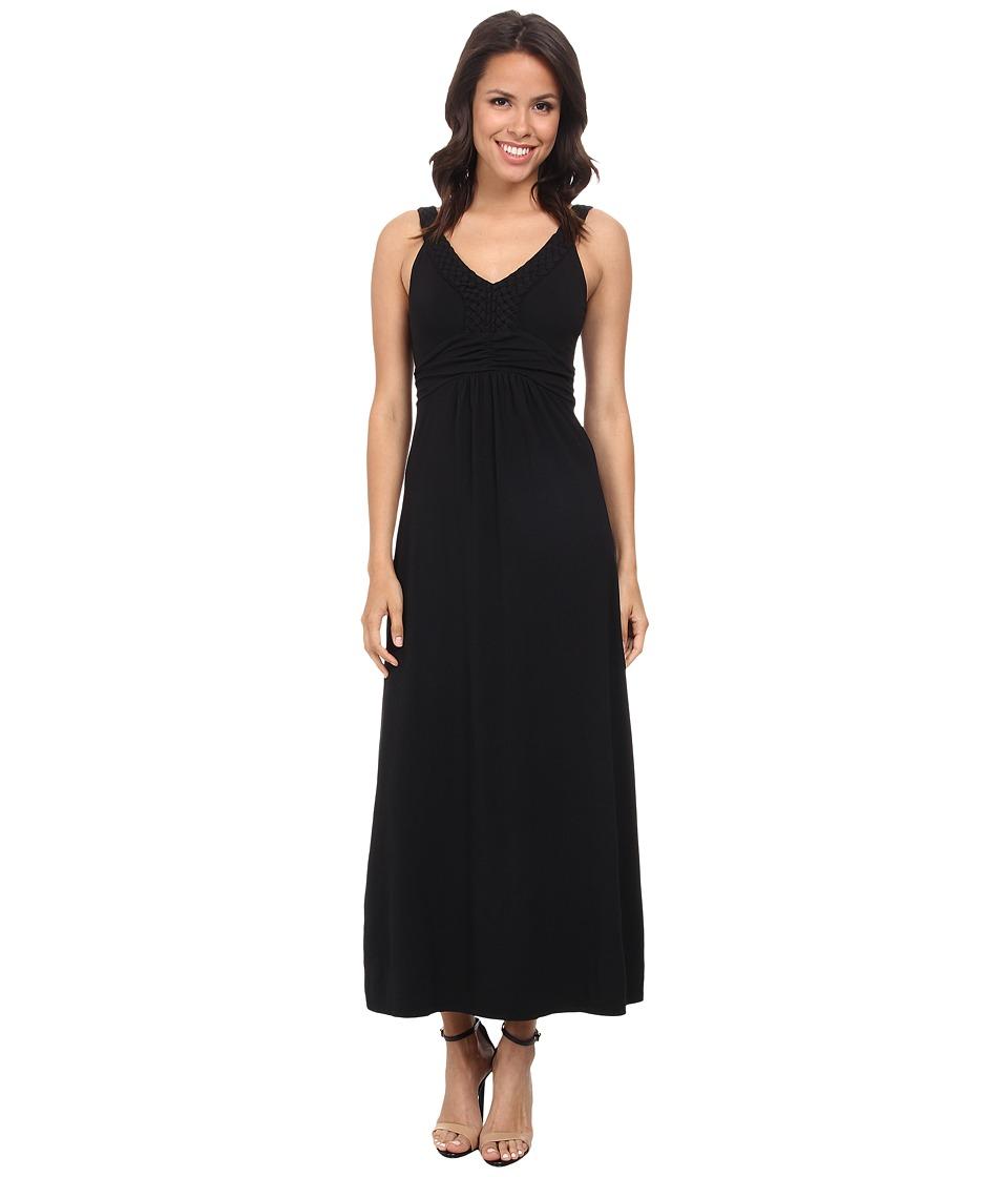 Mod-o-doc - Cotton Modal Jersey Braided Trim Maxi Dress (Black) Women's Dress