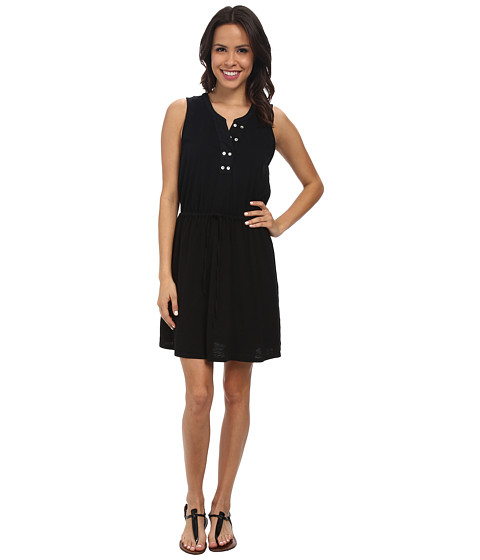 Mod-o-doc - Slub Jersey Split Henley Tank Dress (Black) Women's Dress