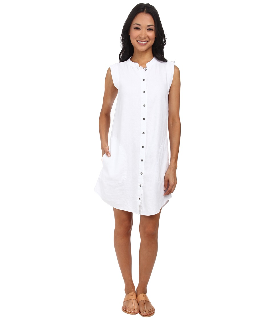 Mod-o-doc - Linen Rayon Button Front Tank Dress (White) Women