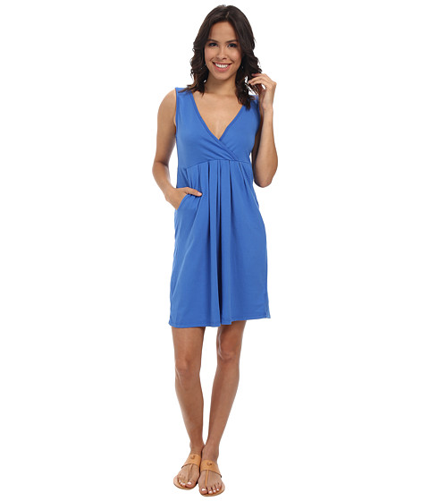 Mod-o-doc - Classic Jersey Surplice Empire Seam Tank Dress (Lapis) Women's Dress