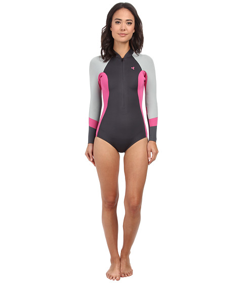 XCEL Wetsuits - 2mm Hanalei Bikini Cut L/S Springsuit (Graphite/Pink) Women's Wetsuits One Piece