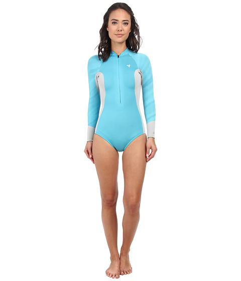 XCEL Wetsuits - 2/1mm Hana Bikini Cut L/S Springsuit (Ocean Blue/Ice Grey/Ocean Blue) Women's Wetsuits One Piece